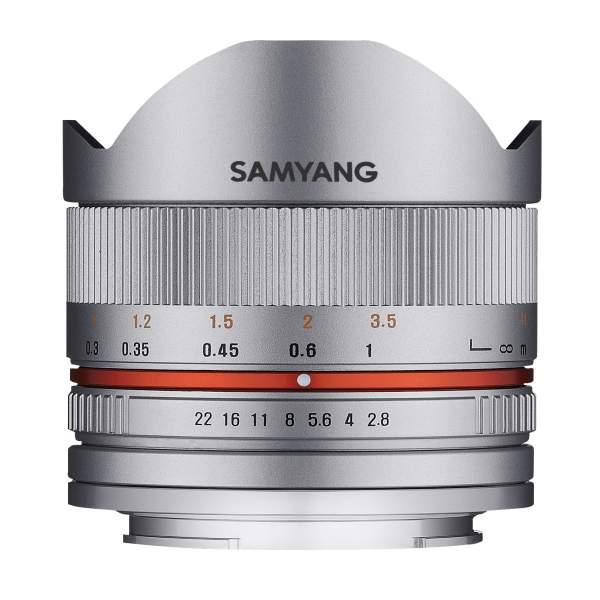 Samyang MF 8mm F2,8 Fisheye II APS-C Fuji X silber