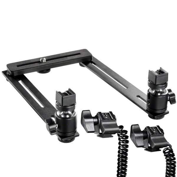 Walimex Makro Blitzschiene Basic mit Y-Kabel Canon