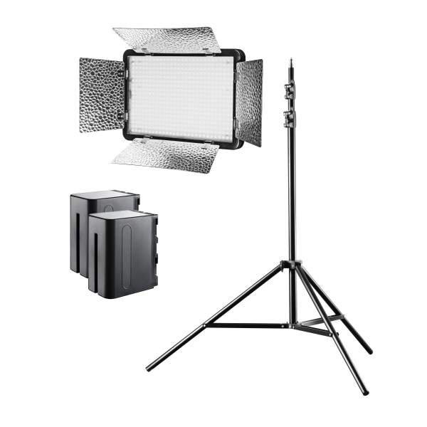 Walimex pro LED Versalight 500 Daylight Set inkl. 1x Stativ und 2x Akku