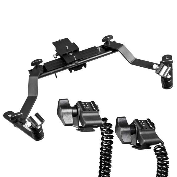 Walimex Makro Blitzschiene Pro mit Y-Kabel Canon