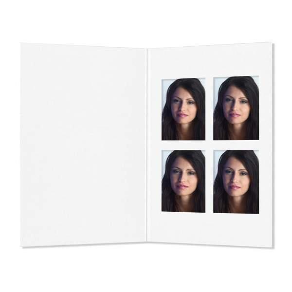 Paßbildmappe mit 4-er Polaroid weiß matt