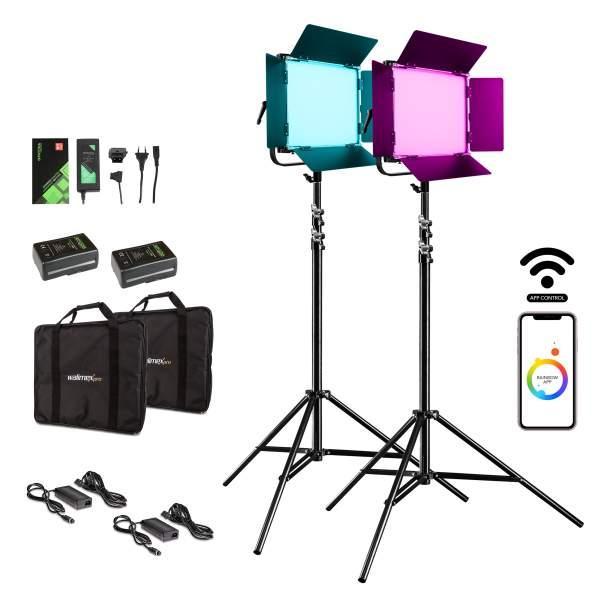Walimex pro LED Rainbow 50W RGBWW Set 4 (2x Rainbow 50W, 2x Lampenstativ GN-806, 2x V-Mount Akku 6.6