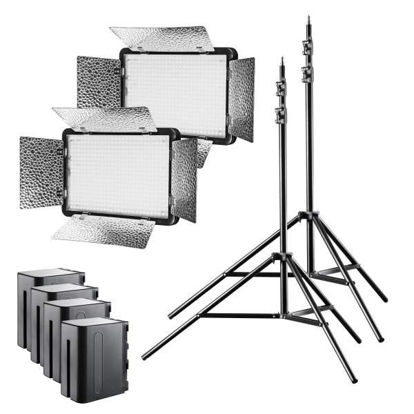 Walimex pro LED Versalight 500 Bi Color 2er Set 2x Leuchte 2x Stativ 4x Akku