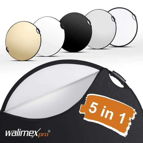 Walimex pro 5in1 Faltreflektor wavy comfort Ø80cm mit Griffen und 5 Reflektorfarben